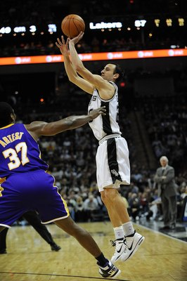 SAN ANTONIO - JANUARY 12:  Guard Manu Ginobili #20 of the San Antonio Spurs on January 12, 2010 at AT&T Center in San Antonio, Texas.  NOTE TO USER: User expressly acknowledges and agrees that, by downloading and/or using this Photograph, user is consenti