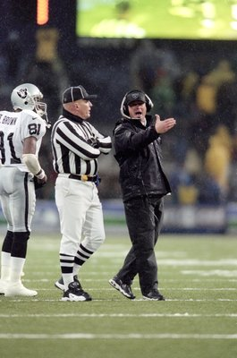 16 Dec 2000:  Head Coach Jon Gruden of the Oakland Raiders yells as he questions the call on the field during the game against the Seattle Seahawks at the Husky Stadium in Seattle, Washington. The Seahawks defeated the Raiders 27-24.Mandatory Credit: Otto
