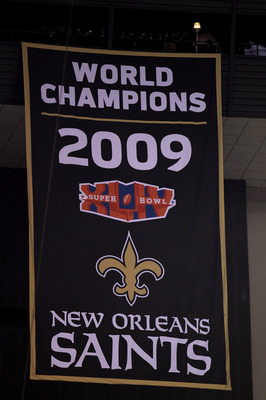 NEW ORLEANS - SEPTEMBER 09:  A detail of the Banner which was unveiled honoring the 2009 SUper Bowl World Championship which was won by the New Orleans Saints prior to the Saints opening the season against the Minnesota Vikings at Louisiana Superdome on S