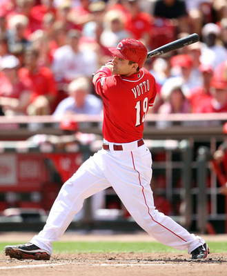 CINCINNATI - SEPTEMBER 12:  Joey Votto #19 of  the Cincinnati Reds is at bat during the game against the Pittsburgh Pirates at Great American Ballpark on September 12, 2010 in Cincinnati, Ohio.  (Photo by Andy Lyons/Getty Images)