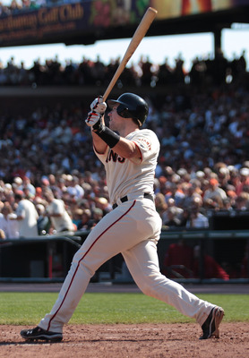 SAN FRANCISCO - SEPTEMBER 30:  Buster Posey #28 of the San Francisco Giants hits a two run home run in sixth inning against the Arizona Diamondbacks during a Major League Baseball game at AT&T Park on September 30, 2010 in San Francisco, California.  (Pho