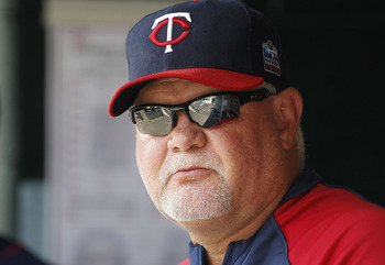 DETROIT - JULY 11: Minnesota Twins manager Ron Gardenhire #35 watches the action from the dugout during the game against the Detroit Tigers on July 11, 2010 at Comerica Park in Detroit, Michigan. The Twins defeated the Tigers 6-3.  (Photo by Leon Halip/Ge