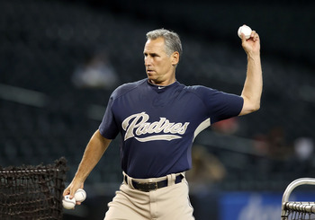 PHOENIX - AUGUST 30:  Manager Bud Black of the San Diego Padres throws batting practice before the Major League Baseball game against the Arizona Diamondbacks at Chase Field on August 30, 2010 in Phoenix, Arizona.   The Diamondbacks defeated the Padres 7-