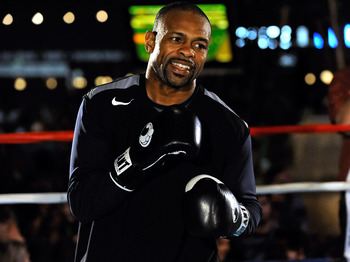 LAS VEGAS - MARCH 30:  Boxer Roy Jones Jr. works out at the Mandalay Bay Resort & Casino March 30, 2010 in Las Vegas, Nevada. Jones will face Bernard Hopkins in a light heavyweight bout on April 3 in Las Vegas.  (Photo by Ethan Miller/Getty Images)