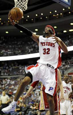 AUBURN HILLS, MI - APRIL 24:  Richard Hamilton #32 of the Detroit Pistons gets to the basket while playing the Cleveland Cavaliers during Game Three of the Eastern Conference Quarterfinals during the 2009 NBA Playoffs at the Palace of Auburn Hills on Apri