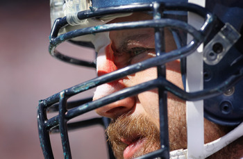 DENVER - SEPTEMBER 19:  Offensive lineman Ben Hamilton #50 of the Seattle Seahawks waits to take the field against the Denver Broncos with a bandaged nose at INVESCO Field at Mile High on September 19, 2010 in Denver, Colorado. The Broncos defeated the Se