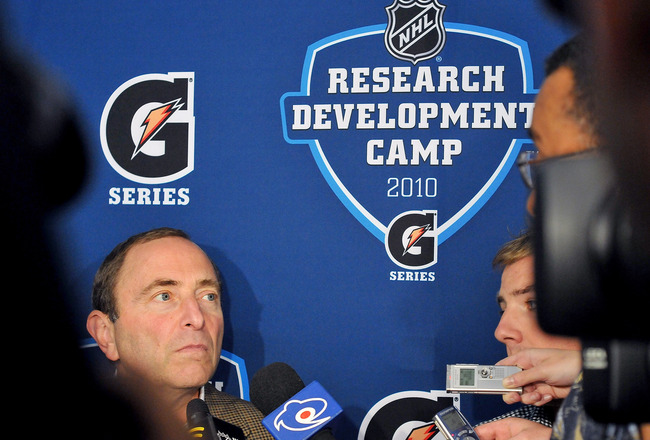 TORONTO, ON - AUGUST 18: Gary Bettman, Commissioner of the NHL, speaks to the media prior to the afternoon session of the 2010 NHL Research, Development and Orientation Camp at the Mastercard Center on August 18, 2010 in Toronto, Canada.  (Photo by Matthe