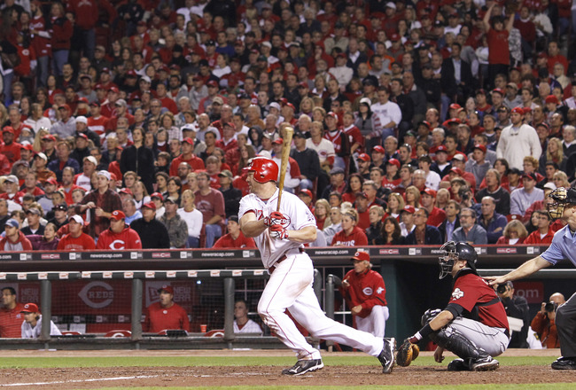 CINCINNATI, OH - SEPTEMBER 28: Scott Rolen #27 of the Cincinnati Reds bats against the Houston Astros at Great American Ball Park on September 28, 2010 in Cincinnati, Ohio. The Reds won 3-2 to clinch the NL Central Division title. (Photo by Joe Robbins/Ge