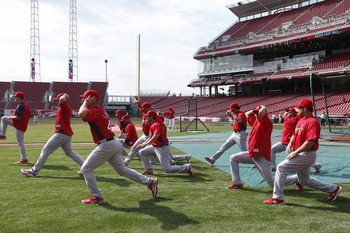 CINCINNATI, OH - APRIL 5: A group of St. Louis Cardinals players stretch before the opening day game against the Cincinnati Reds at the Great American Ball Park on March 5, 2010 in Cincinnati, Ohio. (Photo by Joe Robbins/Getty Images)