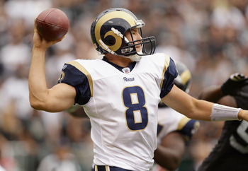 OAKLAND, CA - SEPTEMBER 19:  Sam Bradford #8 of the St. Louis Rams in action during their game against the Oakland Raiders at the Oakland-Alameda County Coliseum on September 19, 2010 in Oakland, California.  (Photo by Ezra Shaw/Getty Images)