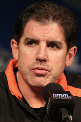PHILADELPHIA - JUNE 8: Head coach Peter Laviolette of the Philadelphia Flyers speaks to the press during media availability for the 2010 NHL Stanley Cup Final at Wachovia Center on June 8, 2010 in Philadelphia, Pennsylvania.  (Photo by Andre Ringuette/Get