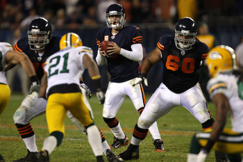 CHICAGO - SEPTEMBER 27:  Quarterback Jay Cutler #6 of the Chicago Bears looks to pass against the Green Bay Packers at Soldier Field on September 27, 2010 in Chicago, Illinois. The Bears won 20-17. (Photo by Jonathan Daniel/Getty Images)