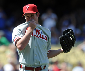 LOS ANGELES, CA - SEPTEMBER 01:  Roy Oswalt #44 of the Philadelphia Phillies reacts to a single from Casey Blake #23 of the Los Angeles Dodgers to end his attempt at a no hitter during the sixth inning at Dodger Stadium on September 1, 2010 in Los Angeles