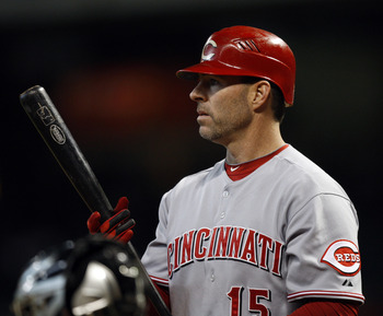 HOUSTON - SEPTEMBER 19:  Jim Edmonds #15of the Cincinnatti Reds pinch hits in the seventh inning against the Housto Astros at Minute Maid Park on September 19, 2010 in Houston, Texas.  (Photo by Bob Levey/Getty Images)