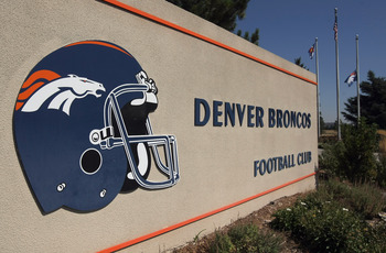 ENGLEWOOD, CO - SEPTEMBER 21:  The Denver Broncos team flag flies at half staff outside the Denver Broncos Headquarters at Dove Valley in memory Bronco wide receiver Kenny McKinley on September 21, 2010 in Englewood, Colorado. McKinley, 23, was found dead