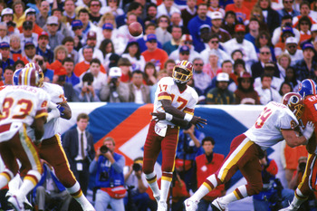 SAN DIEGO - JANUARY 31:  Quarterback Doug Williams #17 of the Washington Redskins passes during Super Bowl XXII against the Denver Broncos at Jack Murphy Stadium on January 31, 1988 in San Diego, California.  The Redskins won 42-10.  (Photo by Stephen Dun