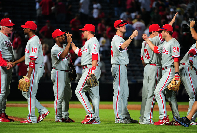 ATLANTA - OCTOBER 2: Members of the Philadelphia Phillies celebrate after the game against the Atlanta Braves at Turner Field on October 2, 2010 in Atlanta, Georgia.  (Photo by Scott Cunningham/Getty Images)