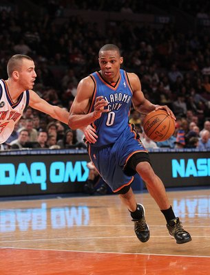 NEW YORK - FEBRUARY 20:  Russell Westbrook #0 of the Oklahoma City Thunder drives to the basket against the New York Knicks at Madison Square Garden on February 20, 2010 in New York, New York. NOTE TO USER: User expressly acknowledges and agrees that, by