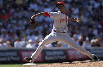DENVER - SEPTEMBER 09:  Relief pitcher Aroldis Chapman #54 of the Cincinnati Reds delivers against the Colorado Rockies at Coors Field on September 9, 2010 in Denver, Colorado. The Rockies defeated the Reds 6-5.  (Photo by Doug Pensinger/Getty Images)