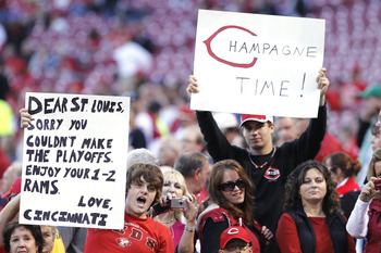 CINCINNATI, OH - SEPTEMBER 28: Cincinnati Reds fans look on before the game against the Houston Astros at Great American Ball Park on September 28, 2010 in Cincinnati, Ohio. The Reds won 3-2 to clinch the NL Central Division title. (Photo by Joe Robbins/G