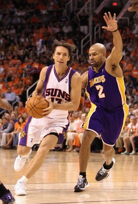 PHOENIX - MAY 25:  Steve Nash #13 of the Phoenix Suns drives with the ball during Game Four of the Western Conference finals of the 2010 NBA Playoffs against the Los Angeles Lakers at US Airways Center on May 25, 2010 in Phoenix, Arizona. The Suns defeate