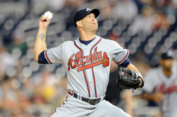 WASHINGTON - SEPTEMBER 24:  Tim Hudson #15 of the Atlanta Braves pitches against the Washington Nationals at Nationals Park on September 24, 2010 in Washington, DC.  (Photo by Greg Fiume/Getty Images)