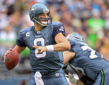 SEATTLE - SEPTEMBER 26:  Quarterback Matt Hasselbeck #8 of the Seattle Seahawks passes against the San Diego Chargers at Qwest Field on September 26, 2010 in Seattle, Washington. (Photo by Otto Greule Jr/Getty Images)