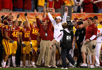 TEMPE, AZ - DECEMBER 31:  Head coach Paul Rhoads of the Iowa State Cyclones celebrates with teammates after defeating the Minnesota Golden Gophers in the Insight Bowl at Arizona Stadium on December 31, 2009 in Tempe, Arizona.  The Cyclones defeated the Go