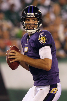 EAST RUTHERFORD, NJ - SEPTEMBER 13:  Joe Flacco #5 of the Baltimore Ravens looks to throws a pass against the New York Jets during the home opener at the New Meadowlands Stadium on September 13, 2010 in East Rutherford, New Jersey.  (Photo by Jim McIsaac/