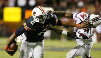 A punishing stiff arm to the face of a South Carolina defender