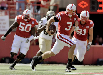 LINCOLN, NE - SEPTEMBER 11: Nebraska Cornhuskers quarterback Taylor Martinez #3 runs for his first touchdown fo the day during first half action of their game at Memorial Stadium on September 4, 2010 in Lincoln, Nebraska. Nebraska Defeated Idaho 38-17. (P