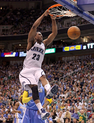 SALT LAKE CITY - APRIL 25:  Wesley Matthews #23 of the Utah Jazz dunks the ball against the Denver Nuggets during Game Four of the Western Conference Quarterfinals of the 2010 NBA Playoffs at EnergySolutions Arena on April 25, 2010 in Salt Lake City, Utah