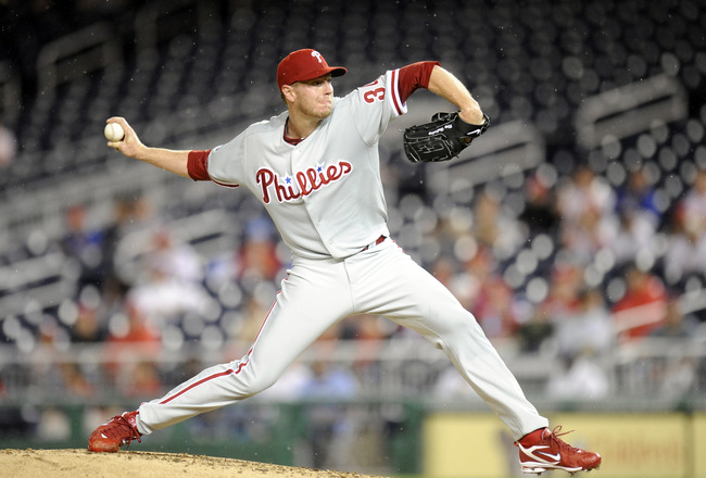 WASHINGTON - SEPTEMBER 27:  Roy Halliday #34 of the Philadelphia Phillies pitches during a baseball game against the Washington Nationals on September 27, 2010 at Nationals Park in Washington, D.C.    (Photo by Mitchell Layton/Getty Images)