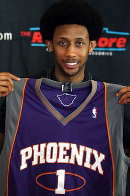 PHOENIX - JULY 14:  Josh Childress of the Phoenix Suns speaks during a press conference at US Airways Center on July 14, 2010 in Phoenix, Arizona. NOTE TO USER: User expressly acknowledges and agrees that, by downloading and or using this photograph, User