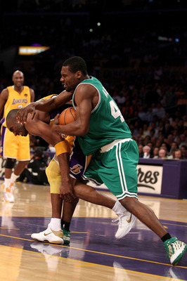 LOS ANGELES, CA - JUNE 15:  Tony Allen #42 of the Boston Celtics fouls Kobe Bryant #24 of the Los Angeles Lakers in the fourth quarter of Game Six of the 2010 NBA Finals at Staples Center on June 15, 2010 in Los Angeles, California.  NOTE TO USER: User ex
