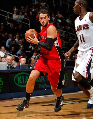 ATLANTA - DECEMBER 02:  Marco Belinelli #0 of the Toronto Raptors against the Atlanta Hawks at Philips Arena on December 2, 2009 in Atlanta, Georgia.  NOTE TO USER: User expressly acknowledges and agrees that, by downloading and/or using this Photograph,
