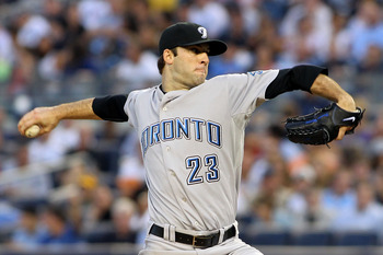 NEW YORK - AUGUST 02:  Brandon Morrow #23 of the Toronto Blue Jays pitches against the New York Yankees  on August 2, 2010 at Yankee Stadium in the Bronx borough of New York City.  (Photo by Michael Heiman/Getty Images)