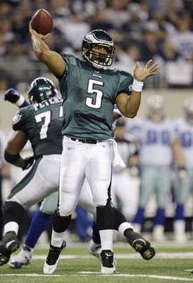 ARLINGTON, TX - JANUARY 9:  Quarterback Donovan McNabb #5 of the Philadelphia Eagles throws the ball in the second half against the Dallas Cowboys during the 2010 NFC wild-card playoff game at Cowboys Stadium on January 9, 2010 in Arlington, Texas. (Photo