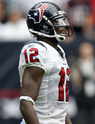 HOUSTON - SEPTEMBER 12:  Wide receiver Jacoby Jones #12 of the Houston Texans at Reliant Stadium on September 12, 2010 in Houston, Texas.  (Photo by Ronald Martinez/Getty Images)