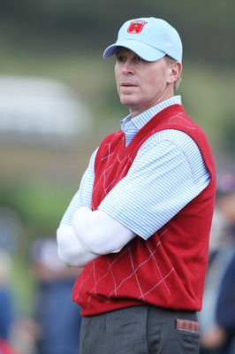 NEWPORT, WALES - OCTOBER 03:  Steve Stricker of the USA looks on during the  Fourball & Foursome Matches during the 2010 Ryder Cup at the Celtic Manor Resort on October 3, 2010 in Newport, Wales. (Photo by Andy Lyons/Getty Images)