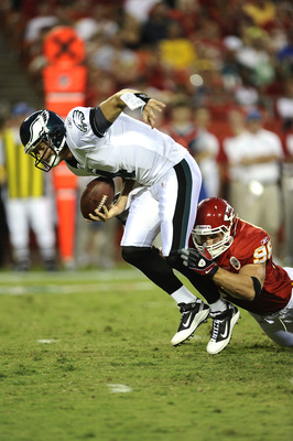 KANSAS CITY, MO - AUGUST 27: Andy Studebaker #96 of the Kansas City Chiefs sacks Kevin Kolb #4 of the Philadelphia Eagles during a preseason game at Arrowhead Stadium on August 27, 2010 in Kansas City, Missouri.  (Photo by G. Newman Lowrance/Getty Images)