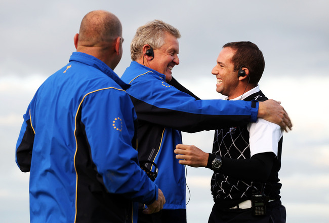NEWPORT, WALES - OCTOBER 03:  Europe Captain Colin Montgomerie reacts with Vice Captain Sergio Garcia (R) during the  Fourball & Foursome Matches during the 2010 Ryder Cup at the Celtic Manor Resort on October 3, 2010 in Newport, Wales.  (Photo by Jamie S