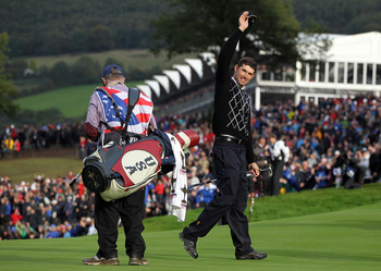 NEWPORT, WALES - OCTOBER 03:  Padraig Harrington of Europe salutes the crowd after winning his match on the 17th green during the Fourball & Foursome Matches during the 2010 Ryder Cup at the Celtic Manor Resort on October 3, 2010 in Newport, Wales.  (Phot
