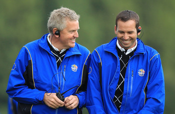 NEWPORT, WALES - OCTOBER 03:  Europe Captain Colin Montgomerie (L) smiles with Vice Captain Sergio Garcia during the  Fourball & Foursome Matches during the 2010 Ryder Cup at the Celtic Manor Resort on October 3, 2010 in Newport, Wales.  (Photo by David C
