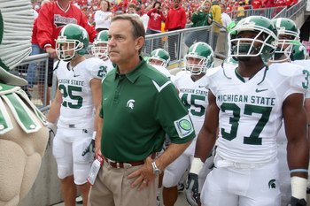 MADISON, WI - SEPTEMBER 26: Head coach Mark Dantonio of the Michigan State Spartans gets ready to lead his team onto the field before the game against the Wisconsin Badgers on September 26, 2009 at Camp Randall Stadium in Madison, Wisconsin. (Photo by Jon