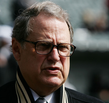 CHICAGO - APRIL 01: Jerry Reinsdorf, chairman  of the Chicago White Sox, watches as his team takes batting practice before the Opening Day game against the Cleveland Indians April 2, 2007 at U.S. Cellular Field in Chicago, Illinois.  (Photo by Jonathan Da