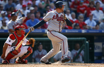 PHILADELPHIA, PA - APRIL 2:  Catcher Brian McCann #16 of the Atlanta Braves bats against the Philadelphia Phillies during a Opening Day game on April 2, 2007 at Citizens Bank Park in Philadelphia, Pennsylvania. (Photo by Rob Tringali/Getty Images)