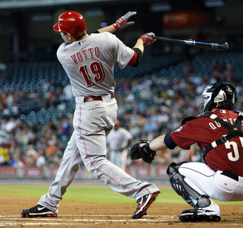 HOUSTON - SEPTEMBER 19:  Joey Votto #19 of the Cincinnatti Reds doubles in the third inning against the Houston Astros at Minute Maid Park on September 19, 2010 in Houston, Texas.  (Photo by Bob Levey/Getty Images)