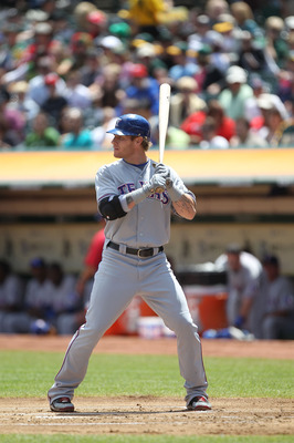 OAKLAND, CA - AUGUST 08:  Josh Hamilton #32 of the Texas Rangers bats against the Oakland Athletics during an MLB game at the Oakland-Alameda County Coliseum on August 8, 2010 in Oakland, California.  (Photo by Jed Jacobsohn/Getty Images)
