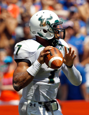 GAINESVILLE, FL - SEPTEMBER 11:  Quarterback B.J. Daniels #7 of the South Florida Bulls attempts a pass during a game against the Florida Gators at Ben Hill Griffin Stadium on September 11, 2010 in Gainesville, Florida.  (Photo by Sam Greenwood/Getty Imag